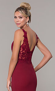 Image of embroidered long v-neck prom dress. Style: DQ-2622 Detail Image 7