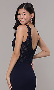 Image of embroidered long v-neck prom dress. Style: DQ-2622 Detail Image 2
