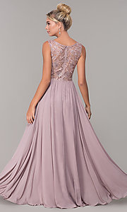 Image of chiffon long mocha prom dress with embroidery. Style: DQ-2553 Back Image