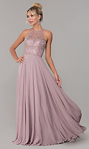 Image of long high-neck mocha purple formal prom dress. Style: DQ-2678 Front Image