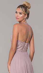 Image of long high-neck chiffon formal prom dress. Style: DQ-2678 Detail Image 2