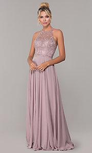 Image of long high-neck mocha purple formal prom dress. Style: DQ-2678 Detail Image 3
