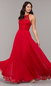 Image of long high-neck chiffon formal prom dress. Style: DQ-2678 Detail Image 4