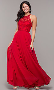 Image of long high-neck chiffon formal prom dress. Style: DQ-2678 Detail Image 8