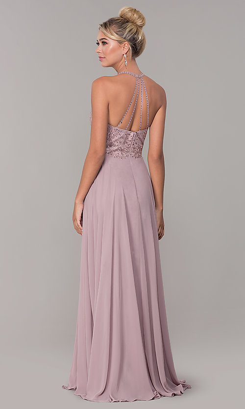 Image of long high-neck mocha purple formal prom dress. Style: DQ-2678 Back Image