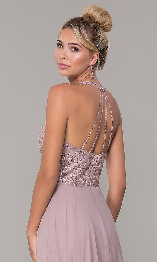Image of long high-neck mocha purple formal prom dress. Style: DQ-2678 Detail Image 2