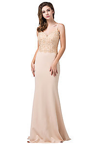 Image of long formal prom dress with embroidered bodice. Style: DQ-2620 Detail Image 4