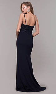 Image of long formal prom dress with embroidered bodice. Style: DQ-2620 Back Image