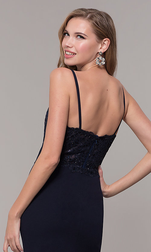 Image of long formal prom dress with embroidered bodice. Style: DQ-2620 Detail Image 2