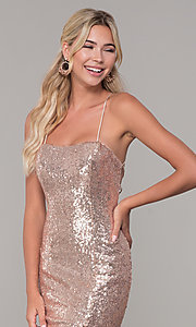 Image of corset-back long sequin prom dress. Style: DQ-2667 Detail Image 1