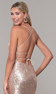 Image of corset-back long sequin prom dress. Style: DQ-2667 Detail Image 2