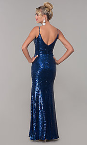 Image of v-neck sequin long prom dress with slit. Style: DQ-2408 Detail Image 5