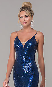 Image of v-neck sequin long prom dress with slit. Style: DQ-2408 Detail Image 6