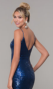Image of v-neck sequin long prom dress with slit. Style: DQ-2408 Detail Image 7