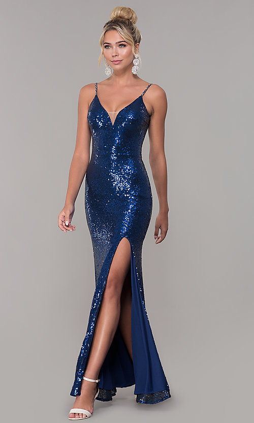 Image of v-neck sequin long prom dress with slit. Style: DQ-2408 Detail Image 8