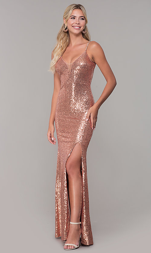 Image of v-neck sequin long prom dress with slit. Style: DQ-2408 Front Image