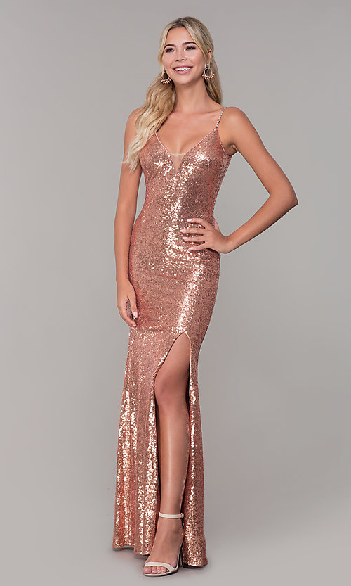 Image of v-neck sequin long prom dress with slit. Style: DQ-2408 Detail Image 3