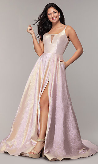 Long A-Line Metallic Scoop-Neck Prom Dress