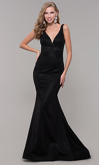 Long Black Backless Prom Dress