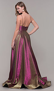 Image of long iridescent v-neck prom dress by ASHLEYlauren. Style: ASH-1513 Detail Image 5