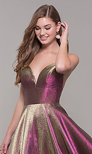 Image of long iridescent v-neck prom dress by ASHLEYlauren. Style: ASH-1513 Detail Image 6