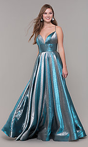 Image of long iridescent v-neck prom dress by ASHLEYlauren. Style: ASH-1513 Front Image