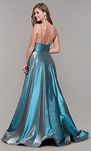 Image of long iridescent v-neck prom dress by ASHLEYlauren. Style: ASH-1513 Back Image