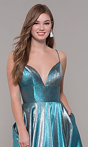 Image of long iridescent v-neck prom dress by ASHLEYlauren. Style: ASH-1513 Detail Image 1