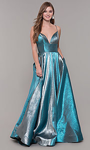 Image of long iridescent v-neck prom dress by ASHLEYlauren. Style: ASH-1513 Detail Image 3