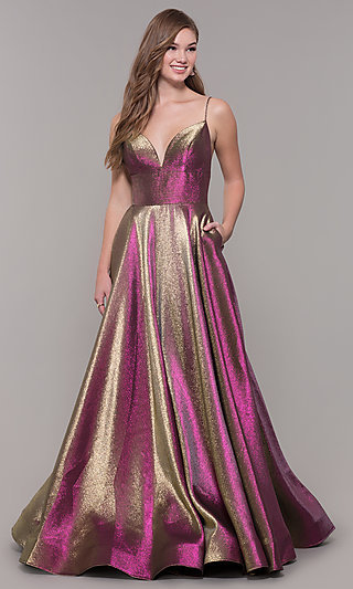 Long A-Line Metallic V-Neck Prom Dress