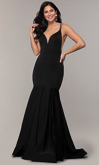 Long V-Neck Prom Dress with a Racerback