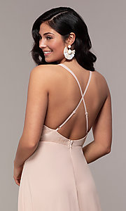 Image of long chiffon v-neck prom dress with lace. Style: LP-25786 Detail Image 7