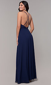 Image of long chiffon v-neck prom dress with lace. Style: LP-25786 Back Image