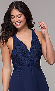 Image of long chiffon v-neck prom dress with lace. Style: LP-25786 Detail Image 1