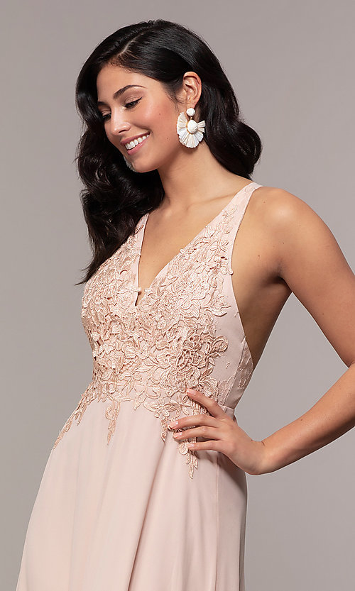 Image of long chiffon v-neck prom dress with lace. Style: LP-25786 Detail Image 6