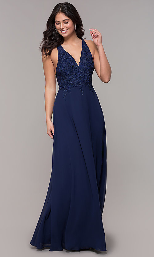 Image of long chiffon v-neck prom dress with lace. Style: LP-25786 Detail Image 3