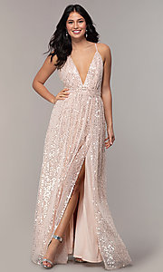 Image of long sequin v-neck open-back prom dress by PromGirl. Style: LP-25932 Front Image