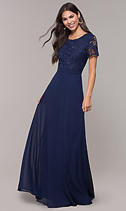 Image of long chiffon short-sleeve lace-bodice prom dress. Style: LP-27529 Back Image
