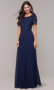 Image of long chiffon short-sleeve lace-bodice prom dress. Style: LP-27529 Detail Image 3