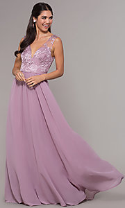 Image of long a-line embroidered-bodice v-neck prom dress. Style: LP-27685 Front Image