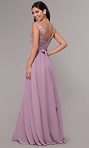 Image of long a-line embroidered-bodice v-neck prom dress. Style: LP-27685 Back Image