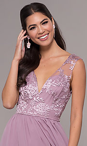 Image of long a-line embroidered-bodice v-neck prom dress. Style: LP-27685 Detail Image 1