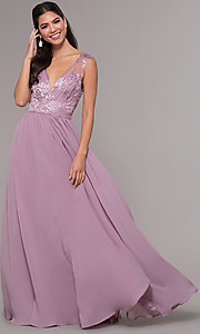 Image of long a-line embroidered-bodice v-neck prom dress. Style: LP-27685 Detail Image 3