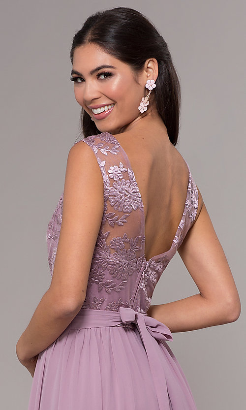 Image of long a-line embroidered-bodice v-neck prom dress. Style: LP-27685 Detail Image 2