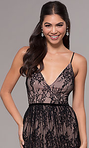 Image of long lace v-neck prom dress. Style: LP-27745 Detail Image 1