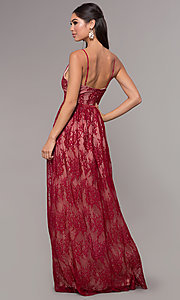 Image of long lace v-neck prom dress. Style: LP-27745 Detail Image 7