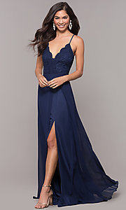 Image of long navy prom dress with v-neck lace bodice. Style: LP-27796 Front Image