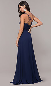 Image of long navy prom dress with v-neck lace bodice. Style: LP-27796 Back Image