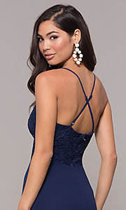 Image of long navy prom dress with v-neck lace bodice. Style: LP-27796 Detail Image 2