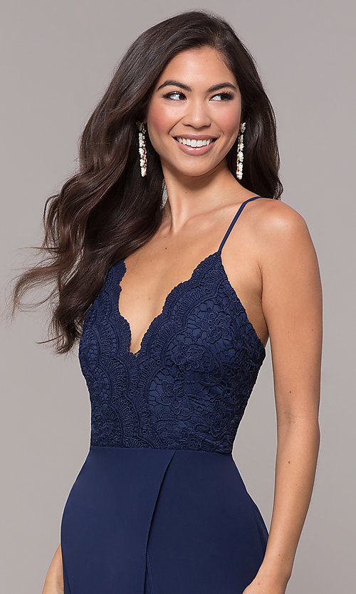 Image of long navy prom dress with v-neck lace bodice. Style: LP-27796 Detail Image 1